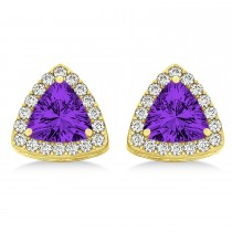 Trilliant Cut Amethyst & Diamond Halo Earrings 14k Yellow Gold (0.93ct)