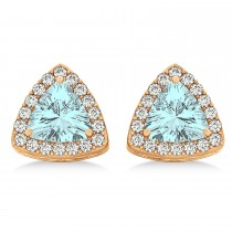 Trilliant Cut Aquamarine & Diamond Halo Earrings 14k Rose Gold (0.93ct)