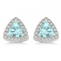 Trilliant Cut Aquamarine & Diamond Halo Earrings 14k White Gold (0.93ct)