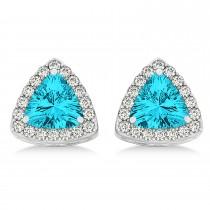 Trilliant Cut Blue & White Diamond Halo Earrings 14k White Gold (1.07ct)