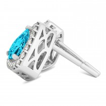 Trilliant Cut Blue & White Diamond Halo Earrings 14k White Gold (1.07ct)|escape