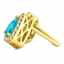 Trilliant Cut Blue & White Diamond Halo Earrings 14k Yellow Gold (1.07ct)