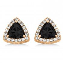 Trilliant Cut Black & White Diamond Halo Earrings 14k Rose Gold (1.07ct)