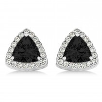 Trilliant Cut Black & White Diamond Halo Earrings 14k White Gold (1.07ct)