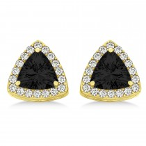 Trilliant Cut Black & White Diamond Halo Earrings 14k Yellow Gold (1.07ct)