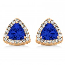 Trilliant Cut Blue Sapphire & Diamond Halo Earrings 14k Rose Gold (0.93ct)