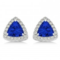 Trilliant Cut Blue Sapphire & Diamond Halo Earrings 14k White Gold (0.93ct)