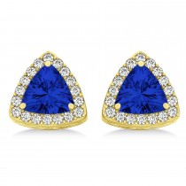 Trilliant Cut Blue Sapphire & Diamond Halo Earrings 14k Yellow Gold (0.93ct)