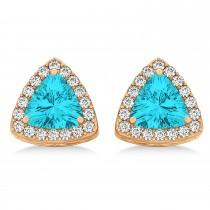 Trilliant Cut Blue Topaz & Diamond Halo Earrings 14k Rose Gold (0.93ct)