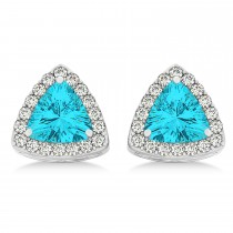 Trilliant Cut Blue Topaz & Diamond Halo Earrings 14k White Gold (0.93ct)