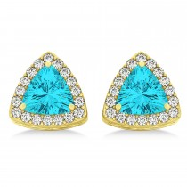 Trilliant Cut Blue Topaz & Diamond Halo Earrings 14k Yellow Gold (0.93ct)