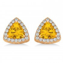 Trilliant Cut Citrine & Diamond Halo Earrings 14k Rose Gold (0.93ct)