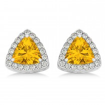 Trilliant Cut Citrine & Diamond Halo Earrings 14k White Gold (0.93ct)