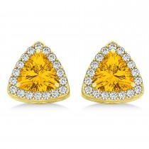 Trilliant Cut Citrine & Diamond Halo Earrings 14k Yellow Gold (0.93ct)