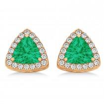 Trilliant Cut Emerald & Diamond Halo Earrings 14k Rose Gold (0.93ct)