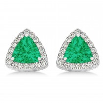 Trilliant Cut Emerald & Diamond Halo Earrings 14k White Gold (0.93ct)
