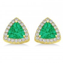 Trilliant Cut Emerald & Diamond Halo Earrings 14k Yellow Gold (0.93ct)