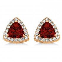 Trilliant Cut Garnet & Diamond Halo Earrings 14k Rose Gold (0.93ct)