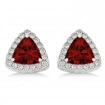 Trilliant Cut Garnet & Diamond Halo Earrings 14k White Gold (0.93ct)