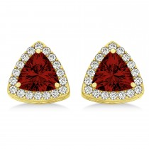 Trilliant Cut Garnet & Diamond Halo Earrings 14k Yellow Gold (0.93ct)