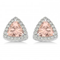 Trilliant Cut Morganite & Diamond Halo Earrings 14k White Gold (0.93ct)
