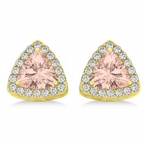 Trilliant Cut Morganite & Diamond Halo Earrings 14k Yellow Gold (0.93ct)