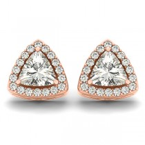 Trilliant Cut Moissanite & Diamond Halo Earrings 14k Rose Gold (1.07ct)