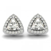 Trilliant Cut Moissanite & Diamond Halo Earrings 14k White Gold (1.07ct)
