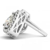 Trilliant Cut Moissanite & Diamond Halo Earrings 14k White Gold (1.07ct)|escape