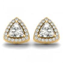 Trilliant Cut Moissanite & Diamond Halo Earrings 14k Yellow Gold (1.07ct)