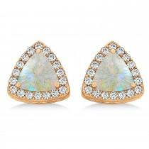 Trilliant Cut Opal & Diamond Halo Earrings 14k Rose Gold (0.93ct)