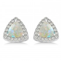Trilliant Cut Opal & Diamond Halo Earrings 14k White Gold (0.93ct)