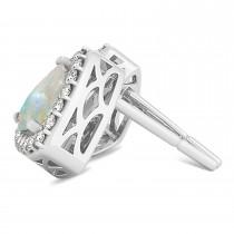Trilliant Cut Opal & Diamond Halo Earrings 14k White Gold (0.93ct)|escape