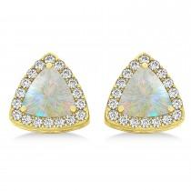 Trilliant Cut Opal & Diamond Halo Earrings 14k Yellow Gold (0.93ct)