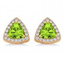 Trilliant Cut Peridot & Diamond Halo Earrings 14k Rose Gold (0.93ct)