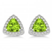 Trilliant Cut Peridot & Diamond Halo Earrings 14k White Gold (0.93ct)