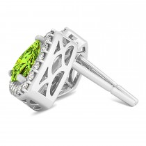 Trilliant Cut Peridot & Diamond Halo Earrings 14k White Gold (0.93ct)|escape