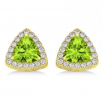 Trilliant Cut Peridot & Diamond Halo Earrings 14k Yellow Gold (0.93ct)