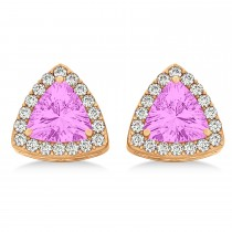 Trilliant Cut Pink Sapphire & Diamond Halo Earrings 14k Rose Gold (0.93ct)