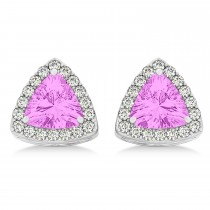 Trilliant Cut Pink Sapphire & Diamond Halo Earrings 14k White Gold (0.93ct)