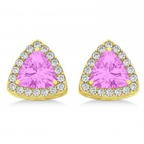 Trilliant Cut Pink Sapphire & Diamond Halo Earrings 14k Yellow Gold (0.93ct)