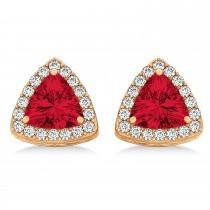 Trilliant Cut Ruby & Diamond Halo Earrings 14k Rose Gold (0.93ct)