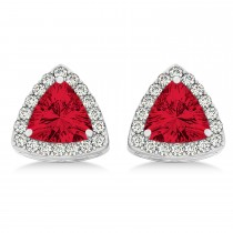 Trilliant Cut Ruby & Diamond Halo Earrings 14k White Gold (0.93ct)