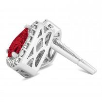 Trilliant Cut Ruby & Diamond Halo Earrings 14k White Gold (0.93ct)