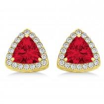 Trilliant Cut Ruby & Diamond Halo Earrings 14k Yellow Gold (0.93ct)