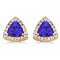 Trilliant Cut Tanzanite & Diamond Halo Earrings 14k Rose Gold (0.93ct)