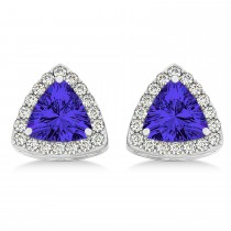 Trilliant Cut Tanzanite & Diamond Halo Earrings 14k White Gold (0.93ct)