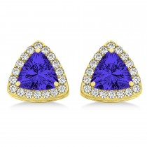 Trilliant Cut Tanzanite & Diamond Halo Earrings 14k Yellow Gold (0.93ct)