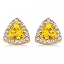 Trilliant Cut Yellow Sapphire & Diamond Halo Earrings 14k Rose Gold (0.93ct)