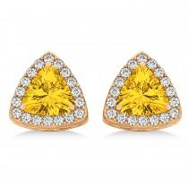 Trilliant Cut Yellow Sapphire & Diamond Halo Earrings 14k Rose Gold (0.93ct)
